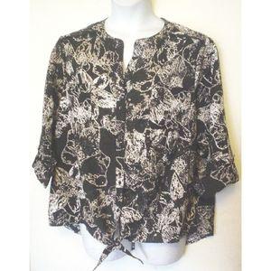 Westbound Woman Flower Button Front Shirt 2X EC
